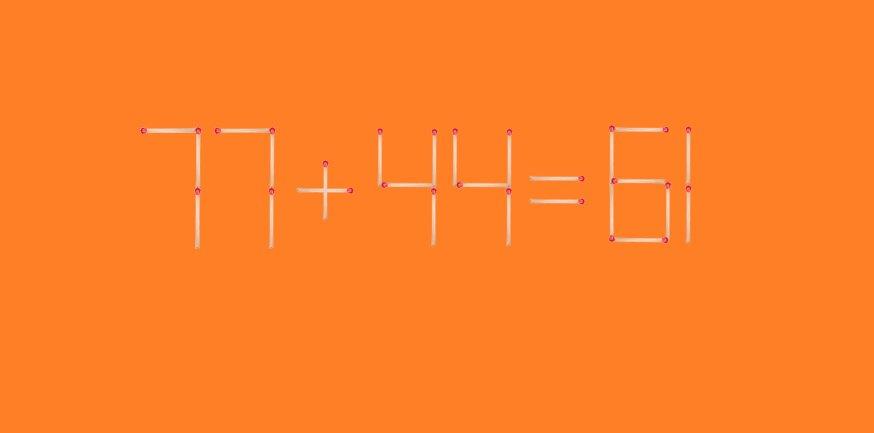 Головоломка со спичками. Пример 77+44=61