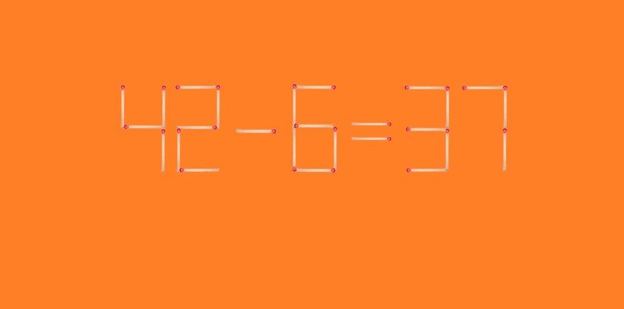 Головоломка со спичками. Пример 42-6=37